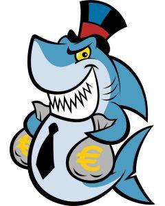 Grisk haj med pengesække