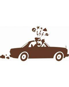 """Gal i skralden"" mand i bil"