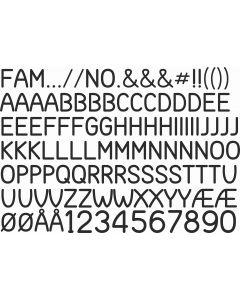 Idion, A4 ark,  23 mm bogstaver og tal.