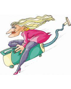 Kvinde på støvsuger - 8200