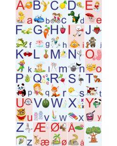 ABC Sæt, ark blå og rød baggrund