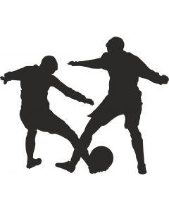 2 fodboldspillere kæmper om bold