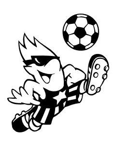 Sjov fodboldspiller, str. ca. 10 x 12 cm