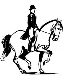 Hest med rytter, 12 x 13 cm.