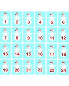Julemærkater til julekalender med snemænd og dato, A5