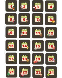 Julemærkater til julekalender med dato, A5