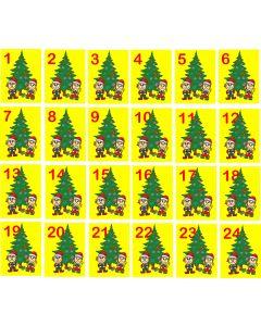 Julemærkater til julekalender med juletræer og dato, A5