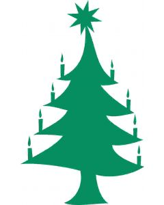 Juletræ med lys og stjerne