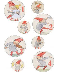 Julemærkater til adventskalender med gl. nisser, A4