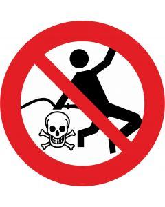 """Forbudsskilt """" Pas på farligt fald """""""