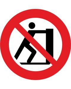 """Forbudsskilt """" Stå ikke på palleløfter """""""