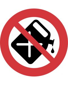 "Forbudsskilt "" Benzinpåfyldning forbudt """