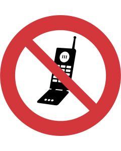 """Forbudsskilt """" Mobiltelefon forbudt """""""