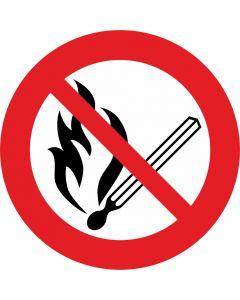 """Forbudsskilt """" Rygning og åben ild forbudt """""""