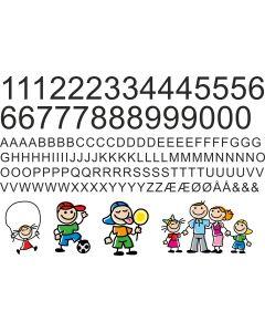 Bogstaver og tal, transparent folie, A4 ark, 10 og 25 mm