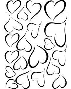 Hjerter på A4- ark til Wall-stickers Vr nr 3845